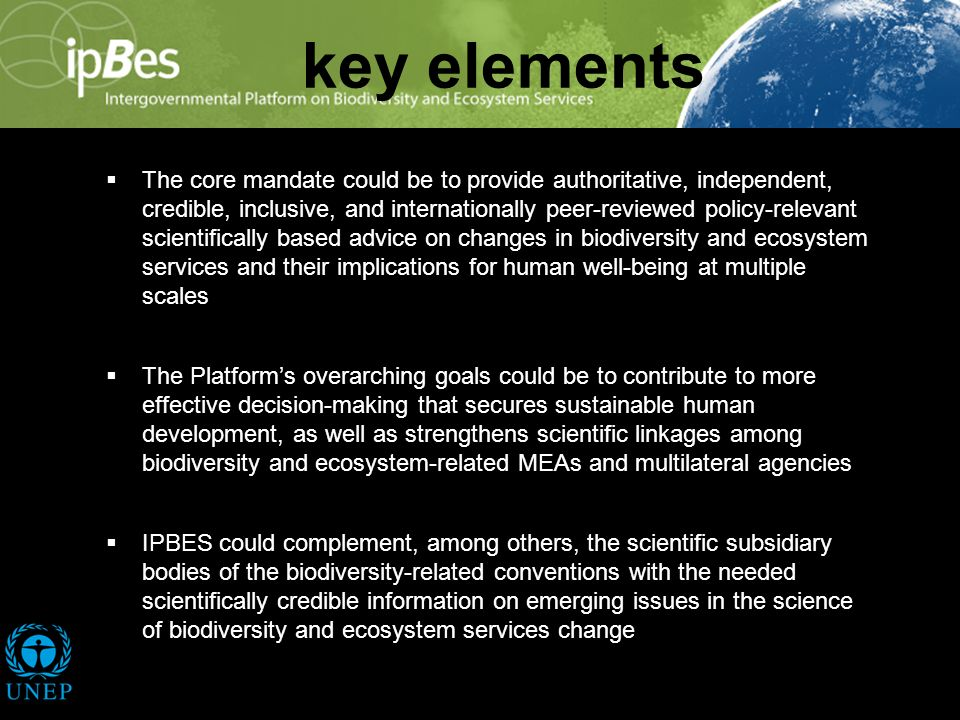 key elements The core mandate could be to provide authoritative, independent, credible, inclusive, and internationally peer-reviewed policy-relevant scientifically based advice on changes in biodiversity and ecosystem services and their implications for human well-being at multiple scales The Platforms overarching goals could be to contribute to more effective decision-making that secures sustainable human development, as well as strengthens scientific linkages among biodiversity and ecosystem-related MEAs and multilateral agencies IPBES could complement, among others, the scientific subsidiary bodies of the biodiversity-related conventions with the needed scientifically credible information on emerging issues in the science of biodiversity and ecosystem services change