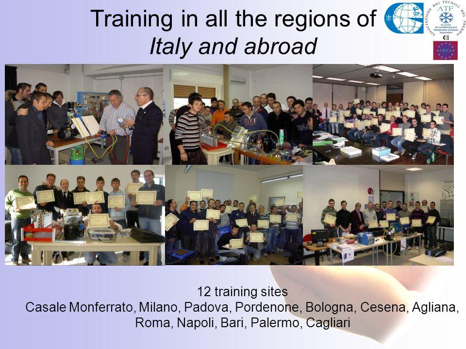 Training in all the regions of Italy and abroad 12 training sites Casale Monferrato, Milano, Padova, Pordenone, Bologna, Cesena, Agliana, Roma, Napoli, Bari, Palermo, Cagliari