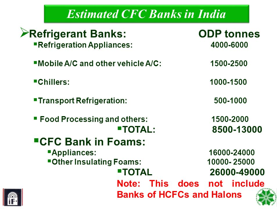 17 Estimated CFC Banks in India Refrigerant Banks: ODP tonnes Refrigeration Appliances: 4000-6000 Mobile A/C and other vehicle A/C: 1500-2500 Chillers: 1000-1500 Transport Refrigeration: 500-1000 Food Processing and others: 1500-2000 TOTAL: 8500-13000 CFC Bank in Foams: Appliances: 16000-24000 Other Insulating Foams: 10000- 25000 TOTAL 26000-49000 Note: This does not include Banks of HCFCs and Halons