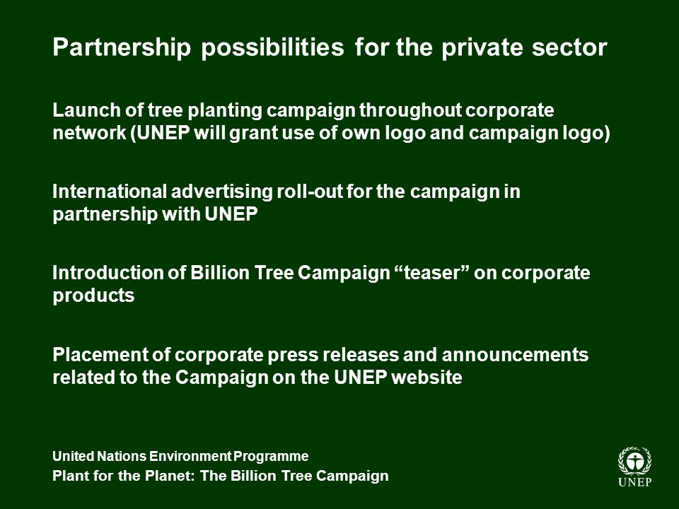 United Nations Environment Programme Plant for the Planet: The Billion Tree Campaign Partnership possibilities for the private sector Launch of tree planting campaign throughout corporate network (UNEP will grant use of own logo and campaign logo) International advertising roll-out for the campaign in partnership with UNEP Introduction of Billion Tree Campaign teaser on corporate products Placement of corporate press releases and announcements related to the Campaign on the UNEP website