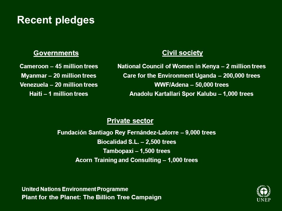 United Nations Environment Programme Plant for the Planet: The Billion Tree Campaign Governments Cameroon – 45 million trees Myanmar – 20 million trees Venezuela – 20 million trees Haiti – 1 million trees Civil society Private sector National Council of Women in Kenya – 2 million trees Care for the Environment Uganda – 200,000 trees WWF/Adena – 50,000 trees Anadolu Kartallari Spor Kalubu – 1,000 trees Recent pledges Fundación Santiago Rey Fernández-Latorre – 9,000 trees Biocalidad S.L.