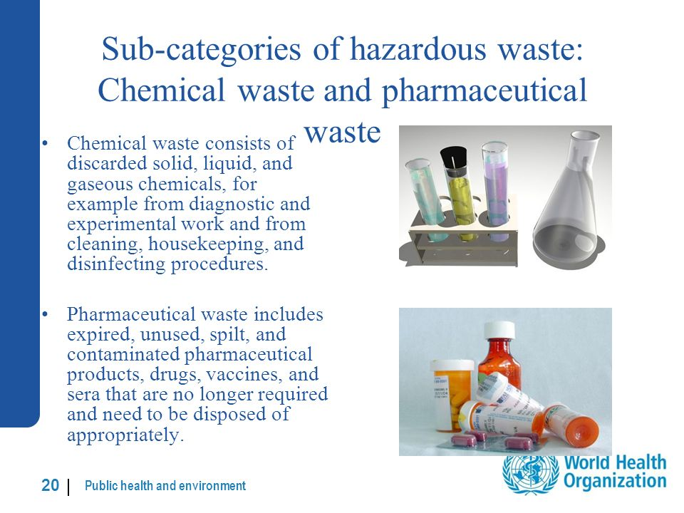 Public health and environment 20 | Sub-categories of hazardous waste: Chemical waste and pharmaceutical waste Chemical waste consists of discarded solid, liquid, and gaseous chemicals, for example from diagnostic and experimental work and from cleaning, housekeeping, and disinfecting procedures.