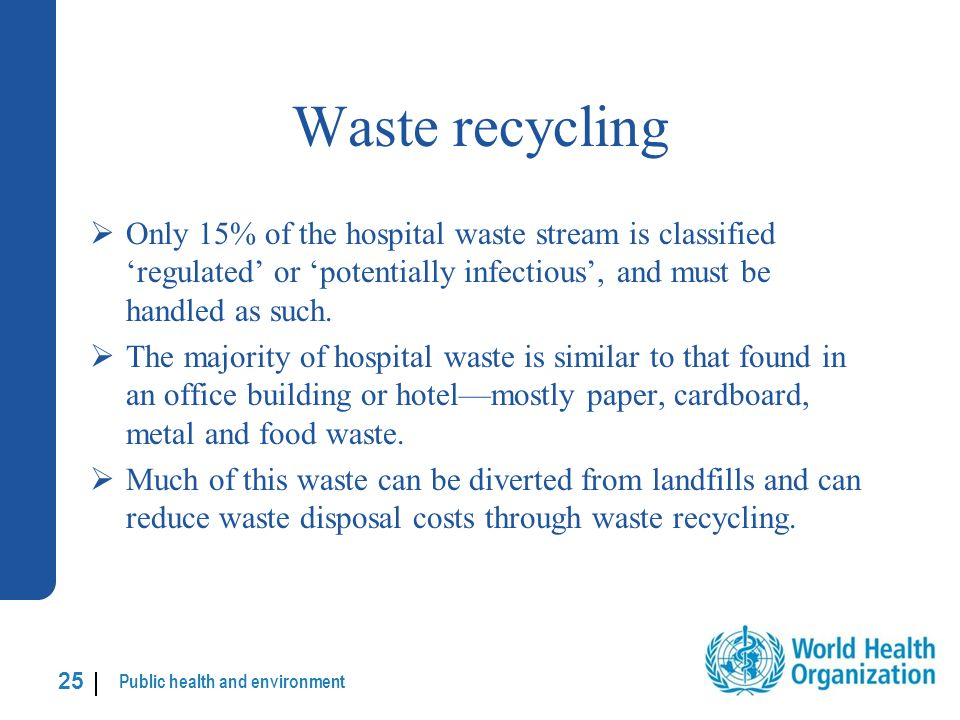 Public health and environment 25 | Waste recycling Only 15% of the hospital waste stream is classified regulated or potentially infectious, and must be handled as such.
