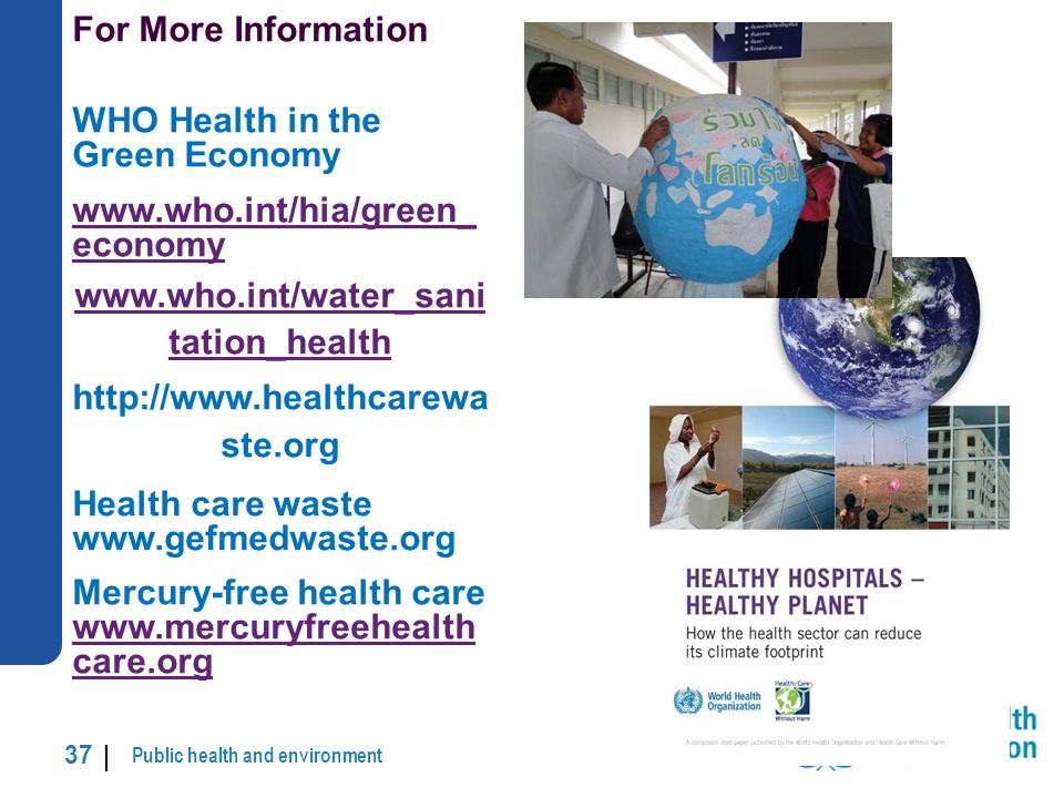 Public health and environment 37 | For More Information WHO Health in the Green Economy www.who.int/hia/green_ economy www.who.int/water_sani tation_health http://www.healthcarewa ste.org Health care waste www.gefmedwaste.org Mercury-free health care www.mercuryfreehealth care.org www.mercuryfreehealth care.org