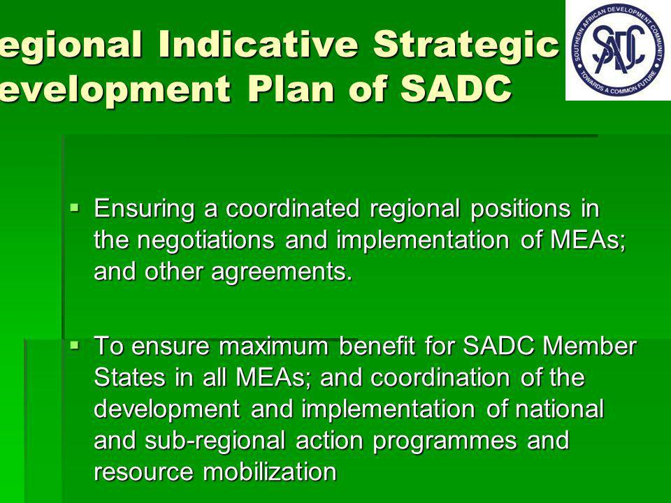 Regional Indicative Strategic Development Plan of SADC Ensuring a coordinated regional positions in the negotiations and implementation of MEAs; and other agreements.