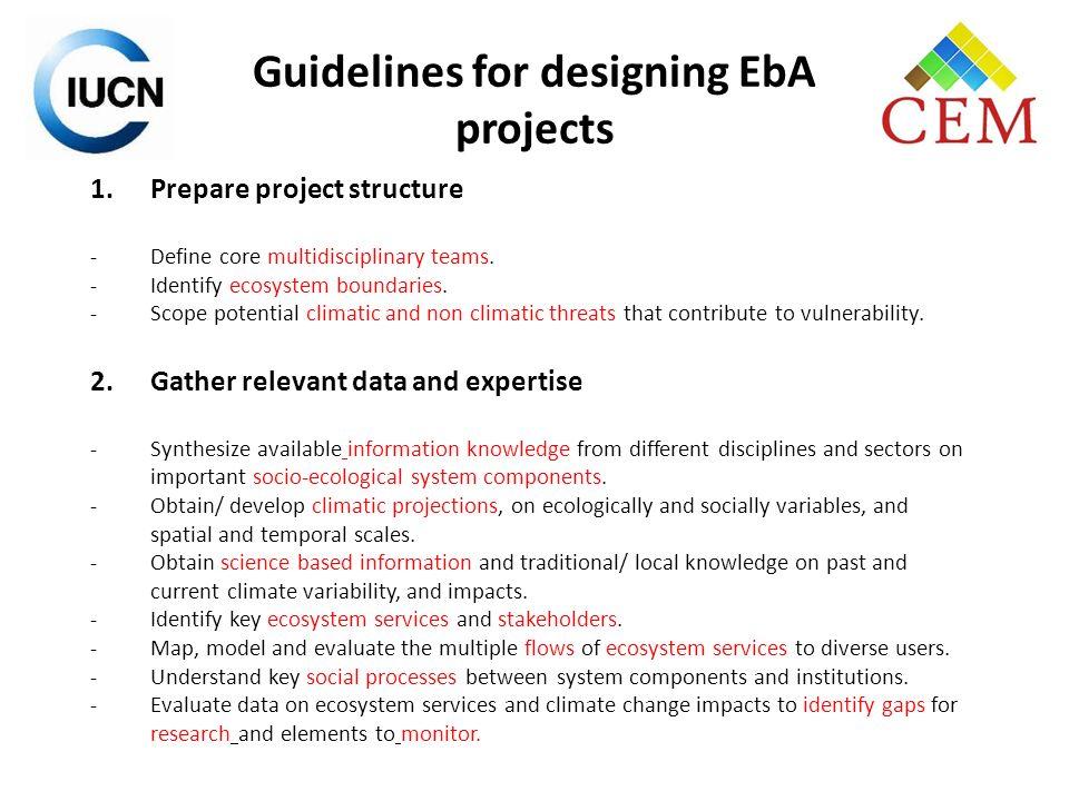1.Prepare project structure -Define core multidisciplinary teams. -Identify ecosystem boundaries. -Scope potential climatic and non climatic threats t
