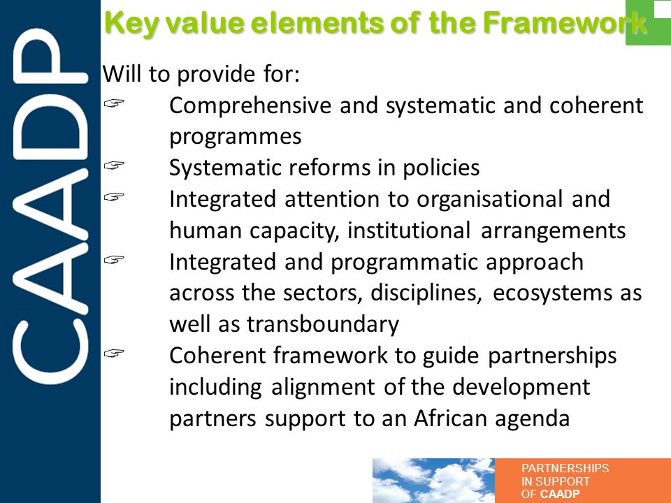 PARTNERSHIPS IN SUPPORT OF CAADP Key value elements of the Framework Will to provide for: Comprehensive and systematic and coherent programmes Systema