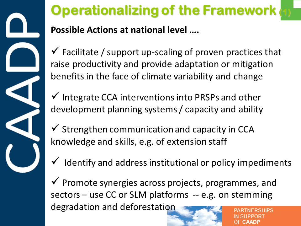 PARTNERSHIPS IN SUPPORT OF CAADP Operationalizing of the Framework (1) Possible Actions at national level …. Facilitate / support up-scaling of proven