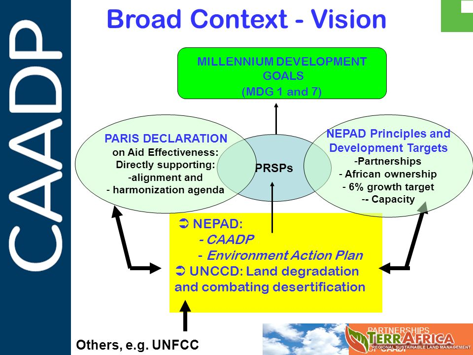 PARTNERSHIPS IN SUPPORT OF CAADP NEPAD: - CAADP - Environment Action Plan UNCCD: Land degradation and combating desertification Broad Context - Vision
