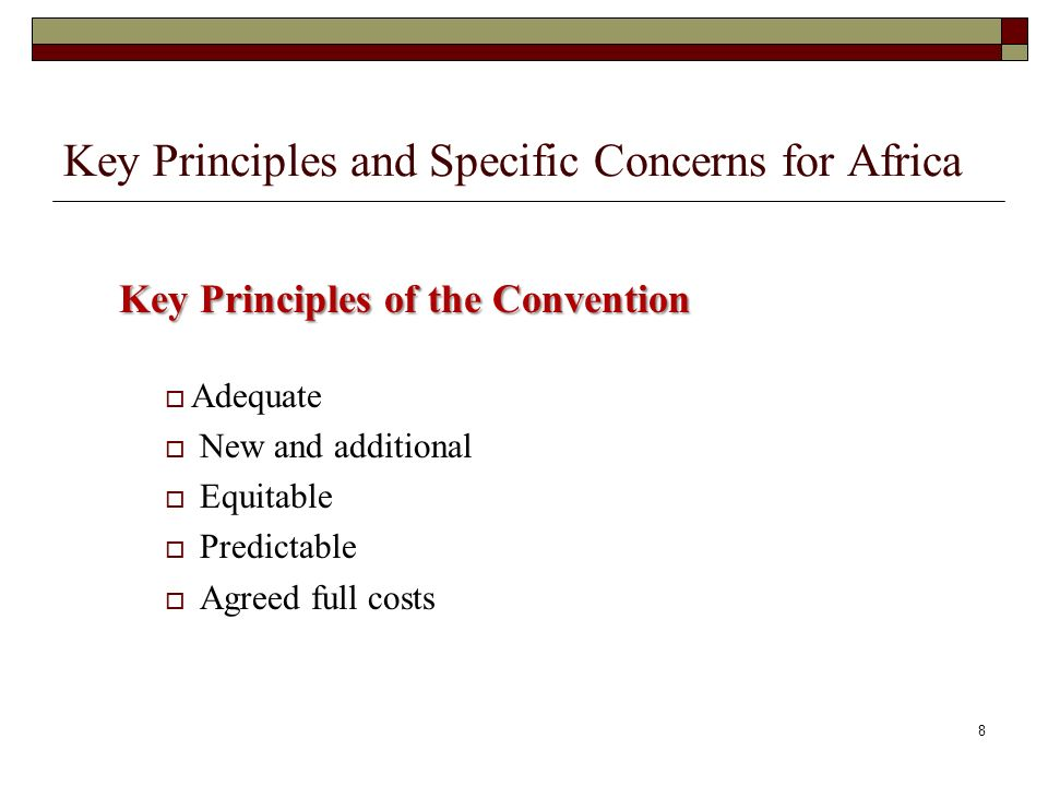Key Principles and Specific Concerns for Africa Key Principles of the Convention Adequate New and additional Equitable Predictable Agreed full costs 8
