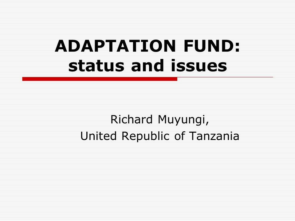 ADAPTATION FUND: status and issues Richard Muyungi, United Republic of Tanzania