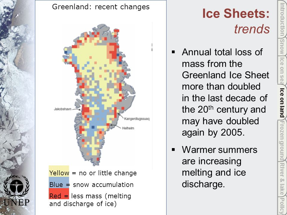 Policy River & lake Frozen ground Ice on land Ice on sea Snow Introduction Ice on land Annual total loss of mass from the Greenland Ice Sheet more than doubled in the last decade of the 20 th century and may have doubled again by 2005.