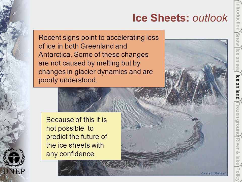 Policy River & lake Frozen ground Ice on land Ice on sea Snow Introduction Ice on land Recent signs point to accelerating loss of ice in both Greenland and Antarctica.