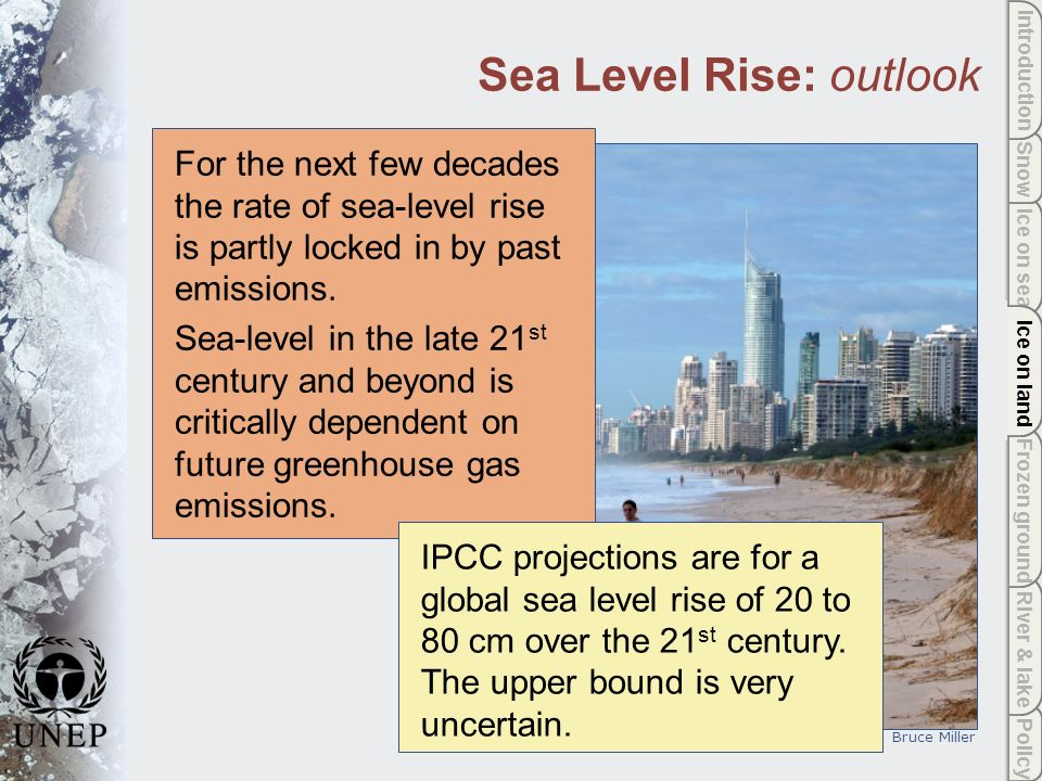 Policy River & lake Frozen ground Ice on land Ice on sea Snow Introduction Ice on land Sea Level Rise: outlook For the next few decades the rate of sea-level rise is partly locked in by past emissions.