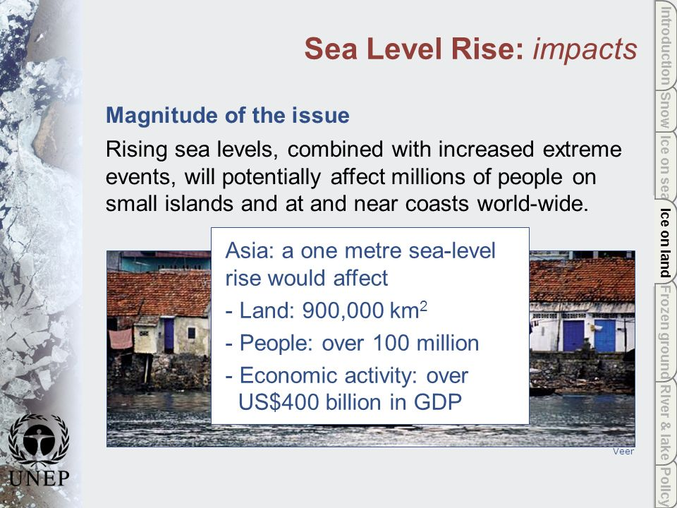 Policy River & lake Frozen ground Ice on land Ice on sea Snow Introduction Ice on land Sea Level Rise: impacts Magnitude of the issue Rising sea levels, combined with increased extreme events, will potentially affect millions of people on small islands and at and near coasts world-wide.
