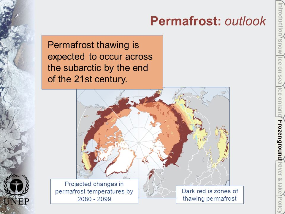 Policy River & lake Frozen ground Ice on land Ice on sea Snow Introduction Permafrost: outlook Dark red is zones of thawing permafrost Projected changes in permafrost temperatures by 2080 - 2099 Permafrost thawing is expected to occur across the subarctic by the end of the 21st century.