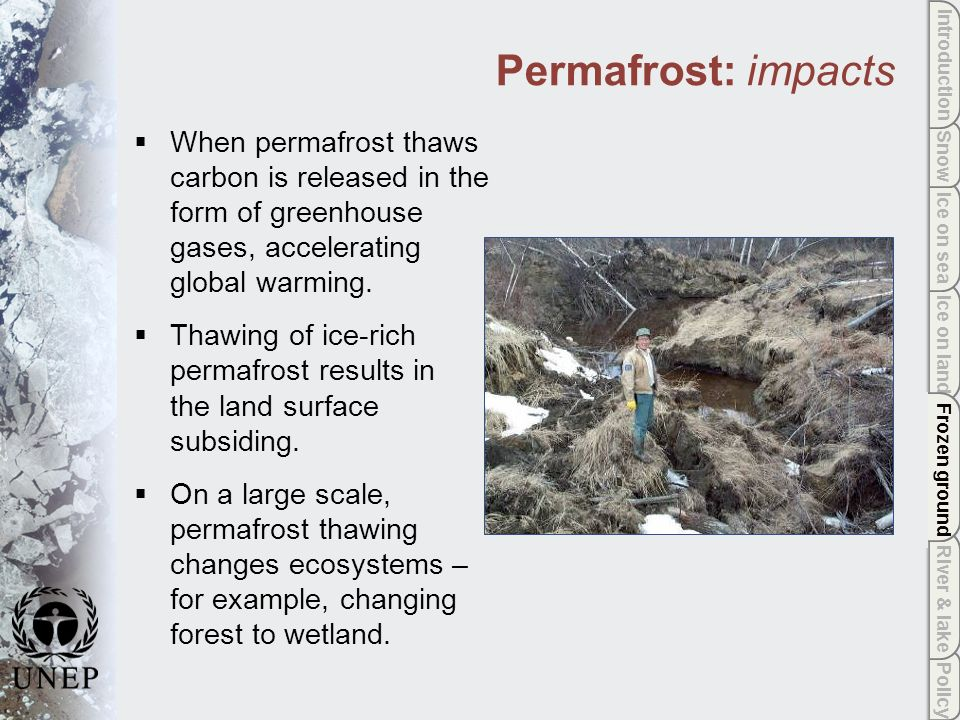 Policy River & lake Frozen ground Ice on land Ice on sea Snow Introduction Frozen ground Permafrost: impacts When permafrost thaws carbon is released in the form of greenhouse gases, accelerating global warming.