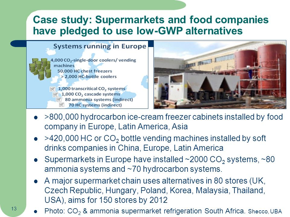 13 Case study: Supermarkets and food companies have pledged to use low-GWP alternatives >800,000 hydrocarbon ice-cream freezer cabinets installed by f