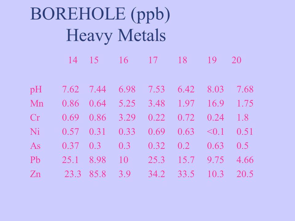 BOREHOLE (ppb) Heavy Metals 141516171819 20 pH 7.627.446.987.536.428.037.68 Mn 0.860.645.253.481.9716.91.75 Cr 0.690.863.290.220.720.241.8 Ni 0.570.31