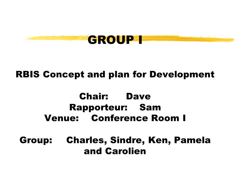 GROUP I RBIS Concept and plan for Development Chair:Dave Rapporteur:Sam Venue:Conference Room I Group:Charles, Sindre, Ken, Pamela and Carolien