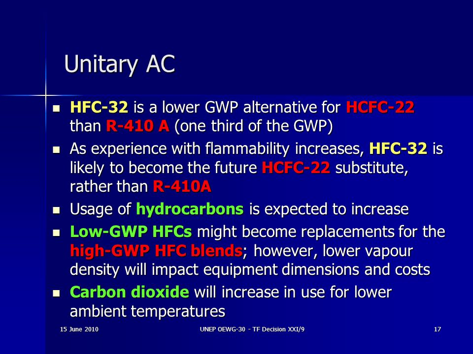 15 June 2010UNEP OEWG-30 - TF Decision XXI/917 Unitary AC HFC-32 is a lower GWP alternative for HCFC-22 than R-410 A (one third of the GWP) HFC-32 is