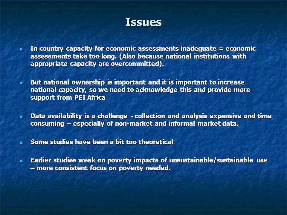 Cost-benefit analysis PEI Africa is now focusing on the use of targeted cost-benefit analysis to justify sector and programme specific increases in government and donor allocations for p-e investments.