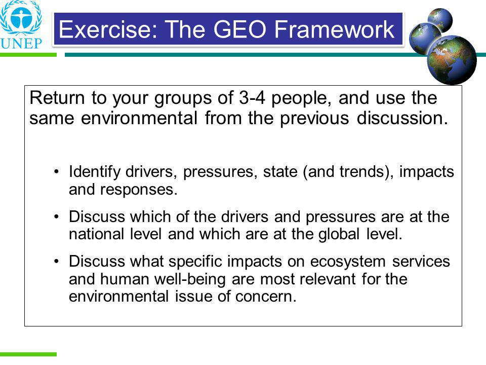 Return to your groups of 3-4 people, and use the same environmental from the previous discussion. Identify drivers, pressures, state (and trends), imp