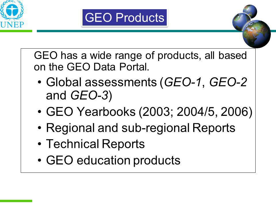 GEO has a wide range of products, all based on the GEO Data Portal. Global assessments (GEO-1, GEO-2 and GEO-3) GEO Yearbooks (2003; 2004/5, 2006) Reg