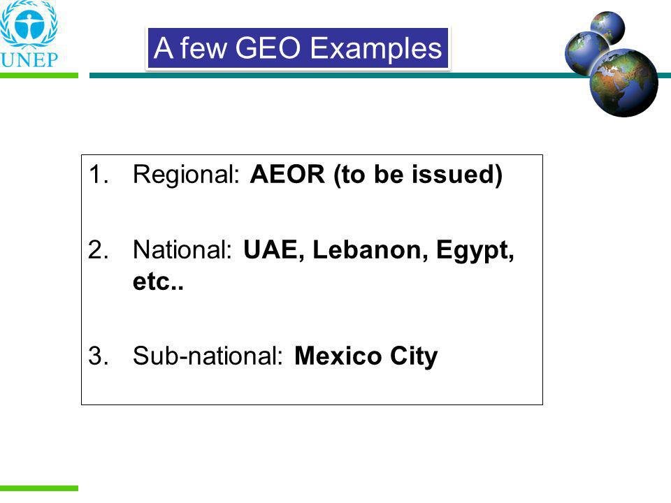 1.Regional: AEOR (to be issued) 2.National: UAE, Lebanon, Egypt, etc.. 3.Sub-national: Mexico City A few GEO Examples