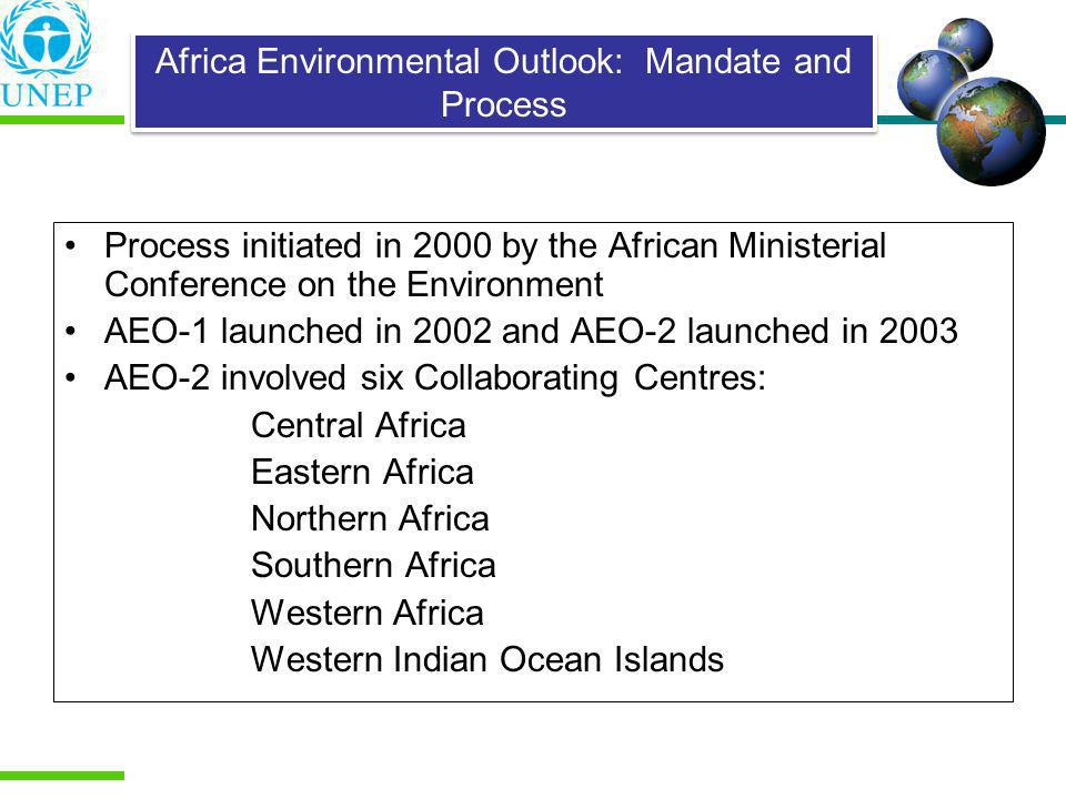 Process initiated in 2000 by the African Ministerial Conference on the Environment AEO-1 launched in 2002 and AEO-2 launched in 2003 AEO-2 involved si