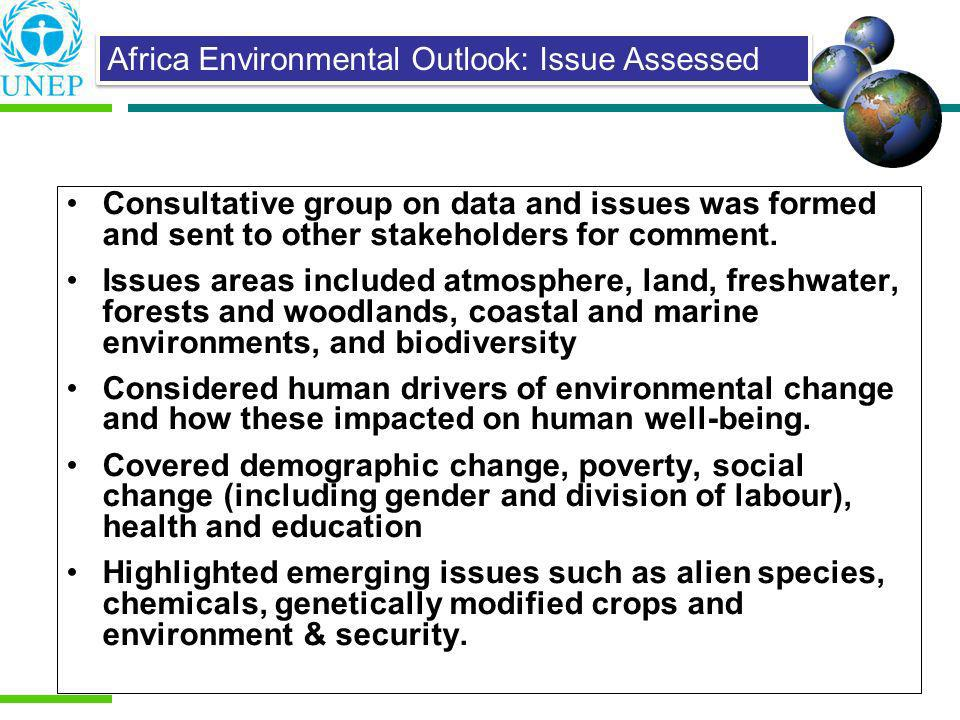 Consultative group on data and issues was formed and sent to other stakeholders for comment. Issues areas included atmosphere, land, freshwater, fores