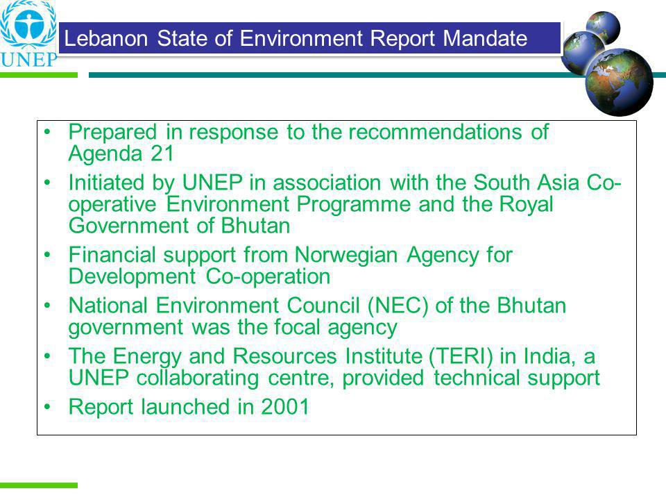 Prepared in response to the recommendations of Agenda 21 Initiated by UNEP in association with the South Asia Co- operative Environment Programme and