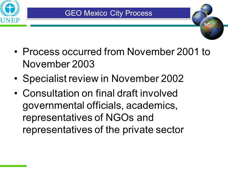 Process occurred from November 2001 to November 2003 Specialist review in November 2002 Consultation on final draft involved governmental officials, a