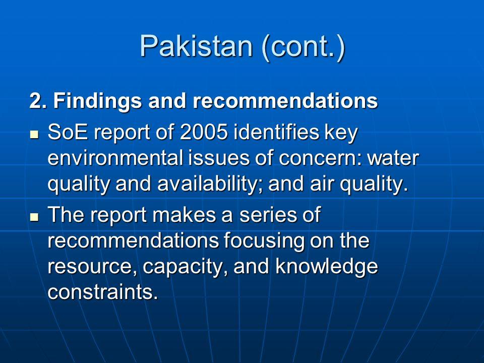 Pakistan (cont.) 2.