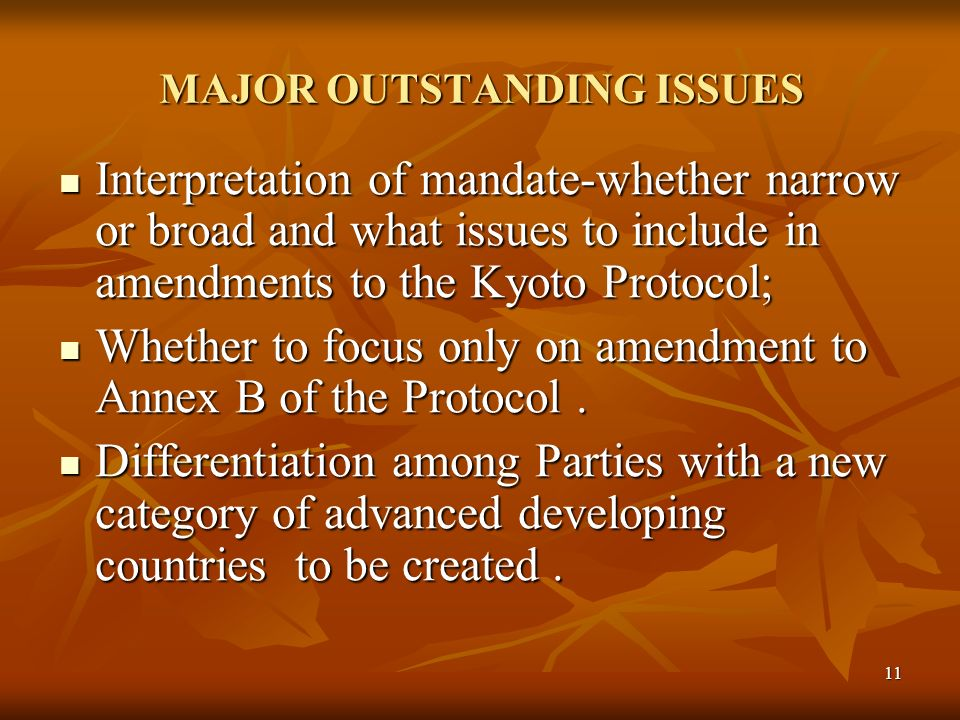 11 MAJOR OUTSTANDING ISSUES Interpretation of mandate-whether narrow or broad and what issues to include in amendments to the Kyoto Protocol; Interpretation of mandate-whether narrow or broad and what issues to include in amendments to the Kyoto Protocol; Whether to focus only on amendment to Annex B of the Protocol.