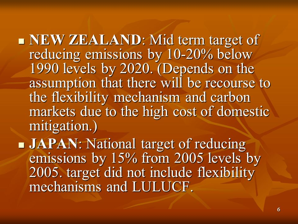 6 NEW ZEALAND: Mid term target of reducing emissions by 10-20% below 1990 levels by 2020.