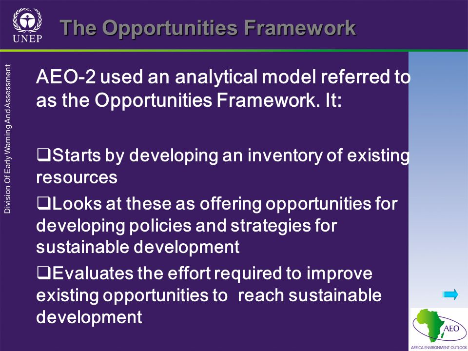 Division Of Early Warning And Assessment The Opportunities Framework AEO-2 used an analytical model referred to as the Opportunities Framework.