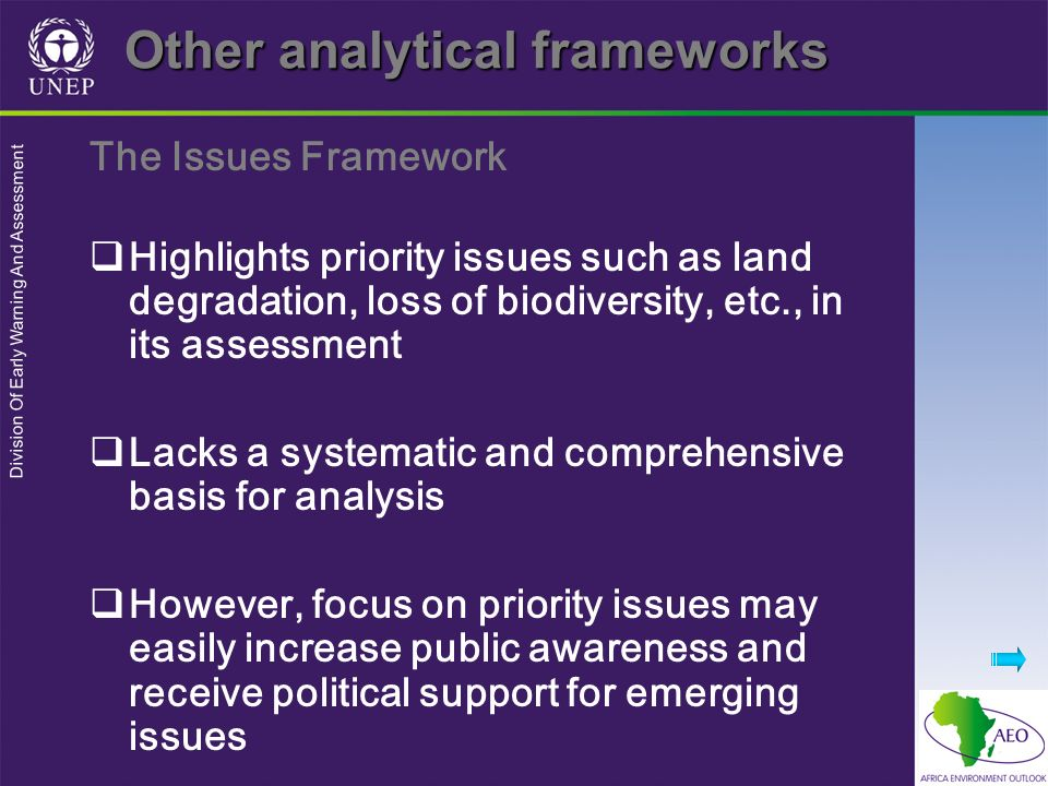 Division Of Early Warning And Assessment Other analytical frameworks The Issues Framework Highlights priority issues such as land degradation, loss of biodiversity, etc., in its assessment Lacks a systematic and comprehensive basis for analysis However, focus on priority issues may easily increase public awareness and receive political support for emerging issues