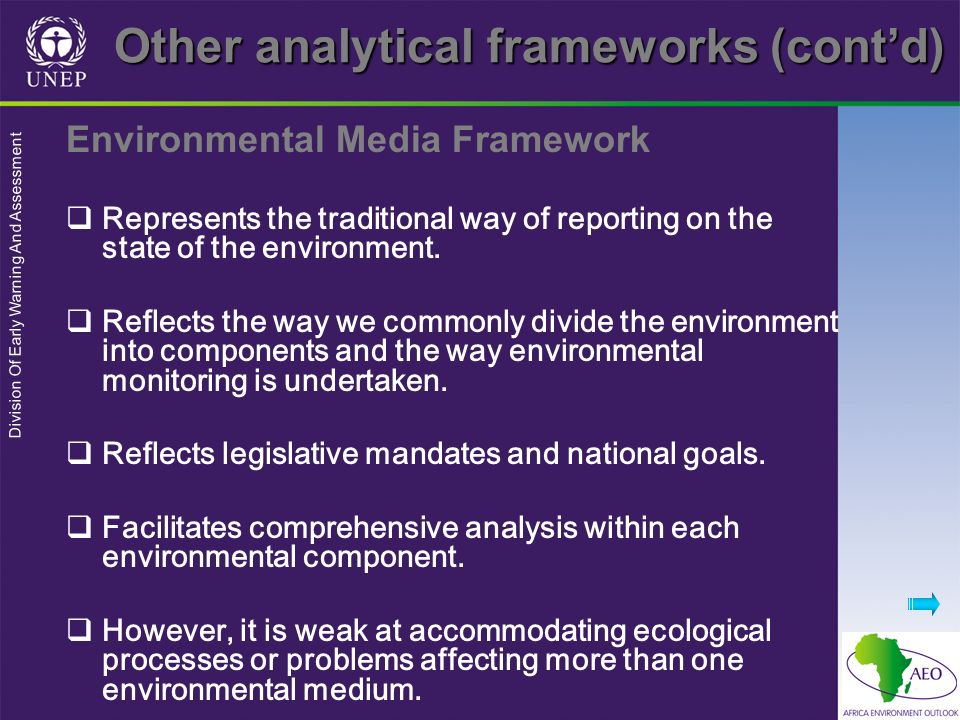 Division Of Early Warning And Assessment Environmental Media Framework Represents the traditional way of reporting on the state of the environment.