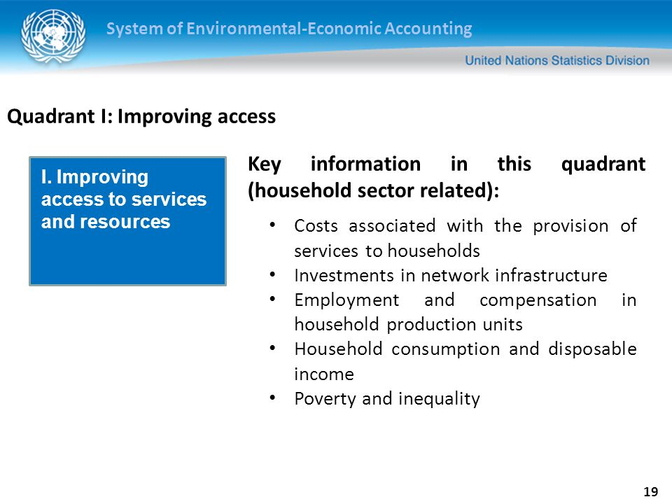 System of Environmental-Economic Accounting 20 Quadrant II: The economy and the environment Efficiency of production Decoupling Multifactor productivity Efficiency of consumption Embedded emissions Footprint indicators Costs of production and payments by users (e.g.