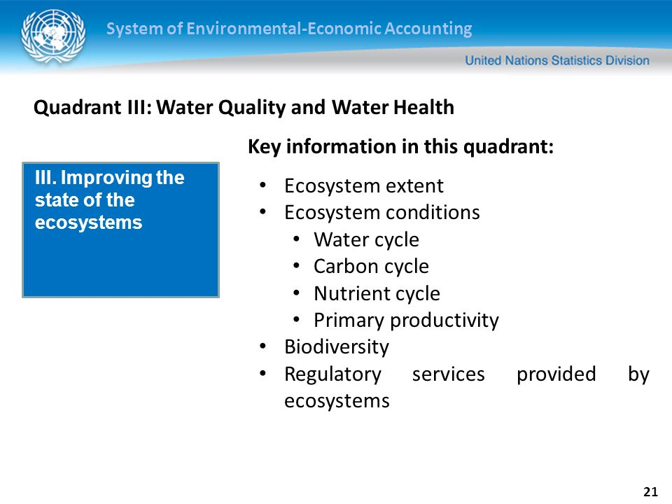 System of Environmental-Economic Accounting 22 Quadrant IV: Extreme Events Natural disasters Investments for mitigation Investments for adaptation IV.