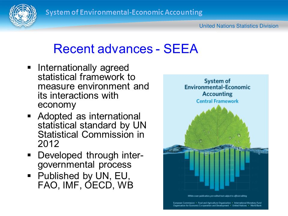 System of Environmental-Economic Accounting SEEA: A Statistical Standard Countries are encouraged to implement the standard International organizations have obligations to assist countries in implementation Implementation strategy adopted by Statistical Commission in March 2013 Data reporting mechanism will be established