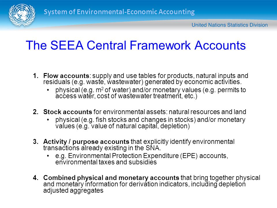 System of Environmental-Economic Accounting SEEA Conceptual Framework Activities -Production -Consumption -Accumulation Instruments -Financial/Monetary -Taxes/subsidies - Financing -Resource rent -Permits Economic Units -Enterprises -Households -Government -Non-profit institutions Individual Environmental Assets (e.g., land, water, mineral and energy, soil, aquatic) Ecosystem Assets Natural inputs Analytical and Policy Frameworks -Productivity analysis -Natural resource management -Climate change -Green Growth/Green Economy -Post-2015 Development Agenda Residuals (e.g., emissions, waste) Economy Environment Territory of reference Outside territory of reference Imports/Exports Transboundary Environmental Flows Ecosystem services