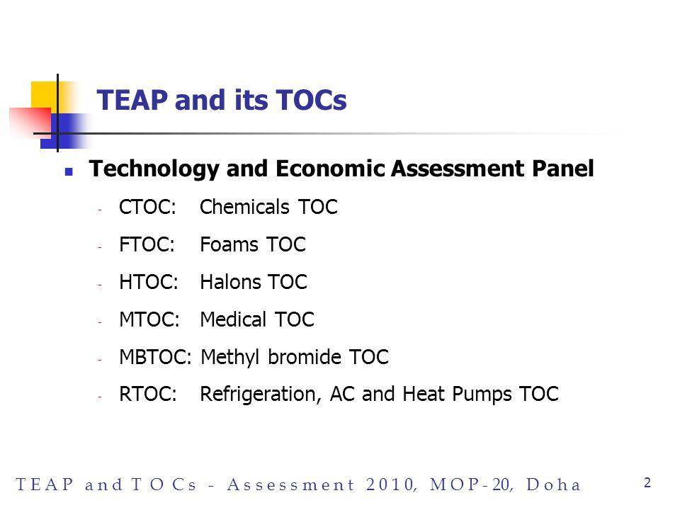 T E A P a n d T O C s - A s s e s s m e n t 2 0 1 0, M O P - 20, D o h a 2 TEAP and its TOCs Technology and Economic Assessment Panel - CTOC: Chemicals TOC - FTOC:Foams TOC - HTOC: Halons TOC - MTOC: Medical TOC - MBTOC: Methyl bromide TOC - RTOC: Refrigeration, AC and Heat Pumps TOC
