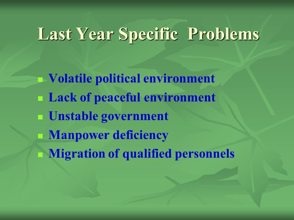 Last Year Specific Problems Volatile political environment Lack of peaceful environment Unstable government Manpower deficiency Migration of qualified personnels