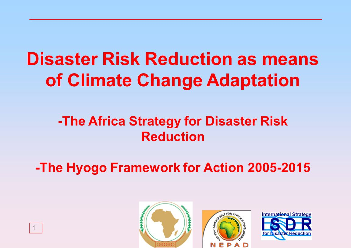 1 Disaster Risk Reduction as means of Climate Change Adaptation -The Africa Strategy for Disaster Risk Reduction -The Hyogo Framework for Action