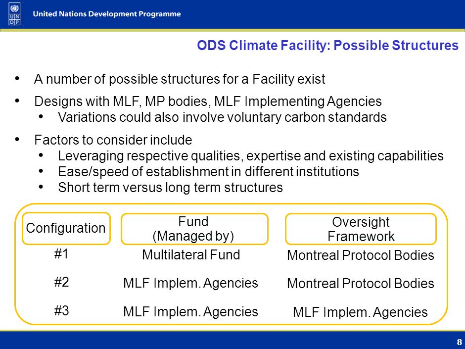 7 ODS Climate Facility: Key Components Finances projects an on incremental cost basis For carbon projects: Provides demand and price Follows market convention: contract to buy offsets Environmental integrity is critical For carbon projects: methodologies, registry, verifiers For int.