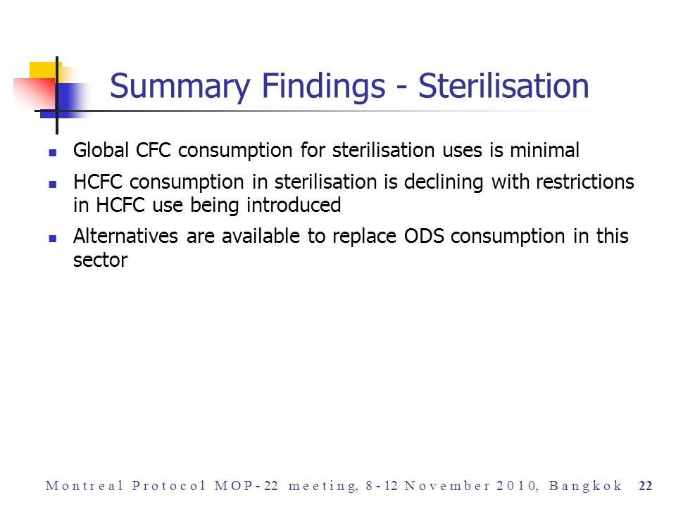 Global CFC consumption for sterilisation uses is minimal HCFC consumption in sterilisation is declining with restrictions in HCFC use being introduced Alternatives are available to replace ODS consumption in this sector Summary Findings - Sterilisation M o n t r e a l P r o t o c o l M O P - 22 m e e t i n g, 8 - 12 N o v e m b e r 2 0 1 0, B a n g k o k 22