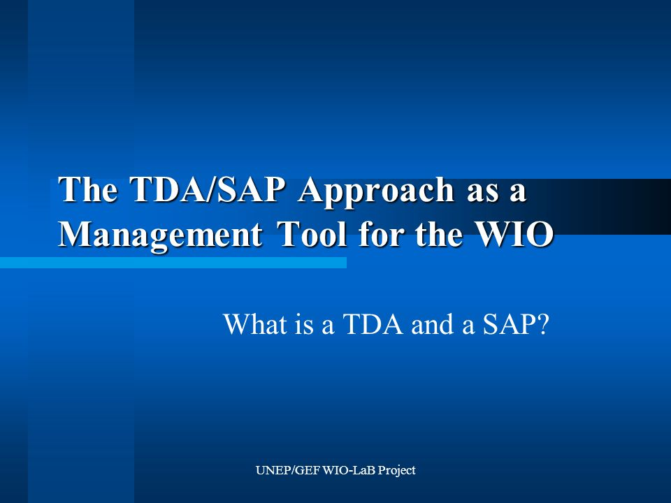 UNEP/GEF WIO-LaB Project The TDA/SAP Approach as a Management Tool for the WIO What is a TDA and a SAP?