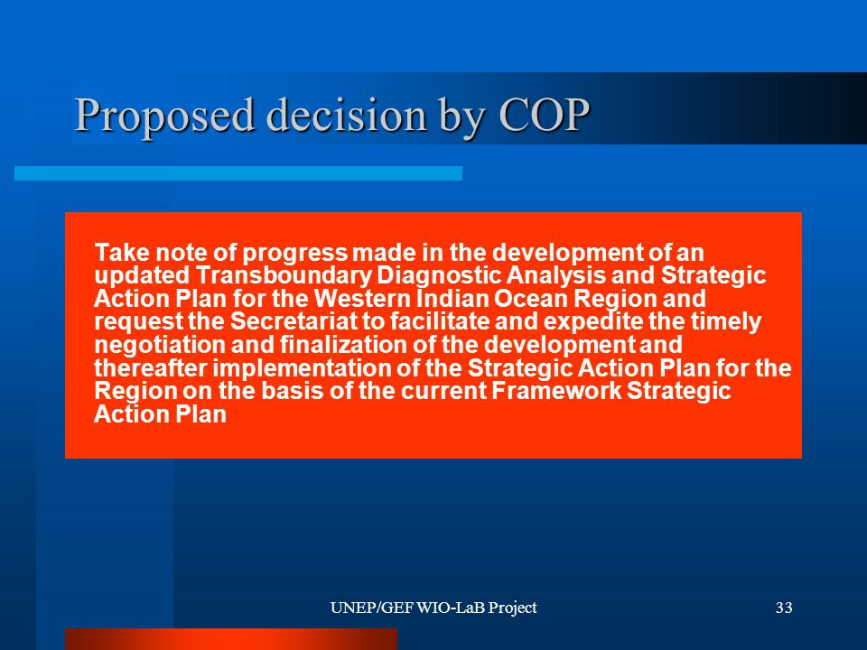 UNEP/GEF WIO-LaB Project33 Proposed decision by COP Take note of progress made in the development of an updated Transboundary Diagnostic Analysis and